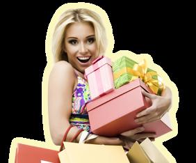 Девушка с подарками Эйвон