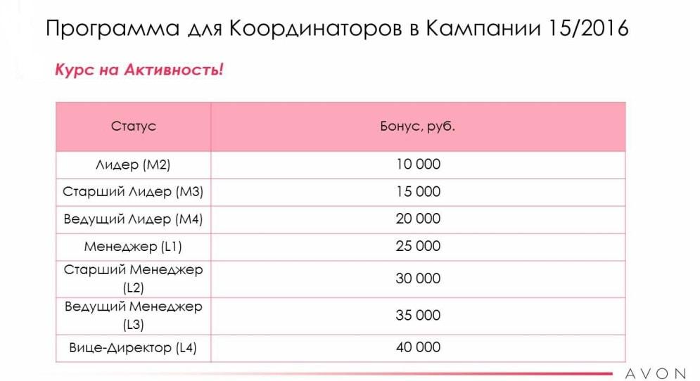 Программа для координаторов Эйвон бонусы в 15 каталоге