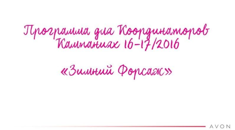 программа для координаторов эйвон зимний форсаж 16-17/2016