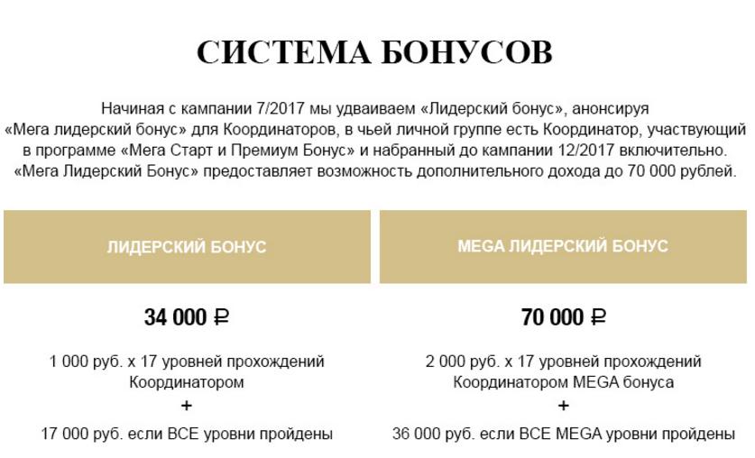 система бонусов Эйвон
