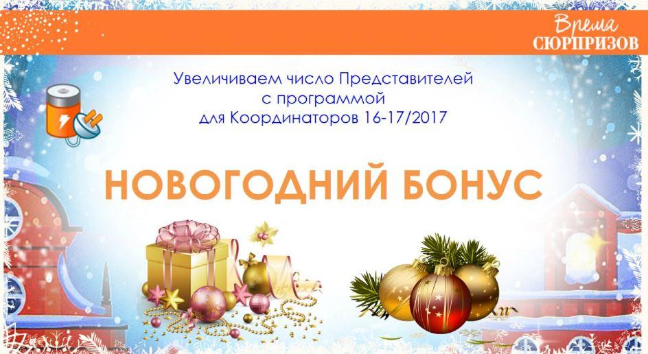 программа  новогодний бонус для координаторов Avon 16-17-2017