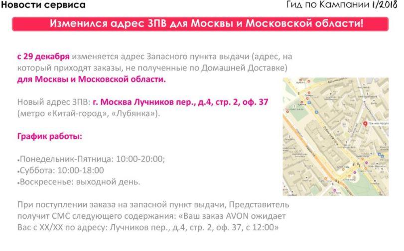 адрес выдачи не забранных заказов Эйвон по Москве и области