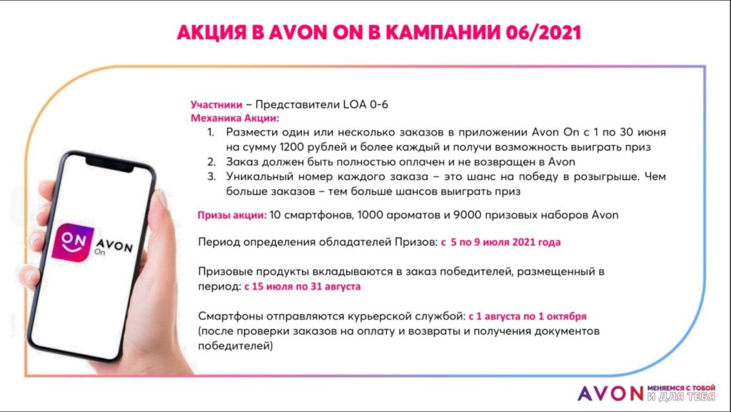 розыгрыш Avon июнь 2021